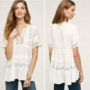 Anthropologie Maeve Tiered White Lace Top, XS
